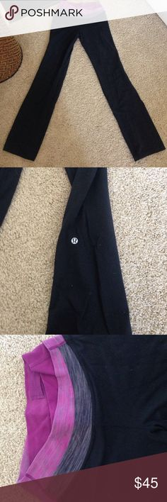 Lululemon black magenta pants 4 Good condition may be a couple of pills but in great condition. Size 4 with a magenta pink and gray swirl waistband. Inseam is 31 inches lululemon athletica Pants