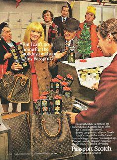 Vintage 1970s 1971 original magazine ad advertisement - Passport Scotch ft. Louis Vuitton luggage by VintageShindig on Etsy https://www.etsy.com/listing/289783337/vintage-1970s-1971-original-magazine-ad