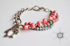 half and half bracelet, pink bracelet, grey bracelent, beaded bracelet, chain bracelet, charm bracelet