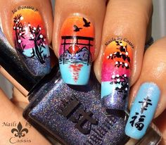 New Year's Sunrise Stamping Mani #nails #nailart #nailstamping #moyoulondon #dashica #chezdelaney
