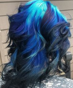 Black and blue dyed hair