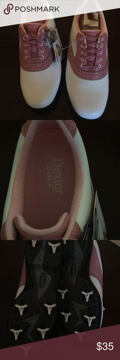 Dexter Women's Golf Shoes Size 9 Pink and white Golf Shoes by Dexter.  Soft Golf Spikes.  Druze technology: moisture and odor management system. Dexter Shoes
