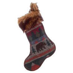 Found it at Wayfair - Cabin Bear Christmas Stocking http://www.wayfair.com/daily-sales/p/Tree-Skirts%2C-Pillows-%26-More-Festive-Fabrics-Cabin-Bear-Christmas-Stocking~FBJ1054~E15178.html?refid=SBP.rBAjD1Rk7L1aMwvry27eAlGoomeF0UYmiOFXzdA3ix0