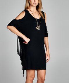 This Black Open-Shoulder Fringe Shift Dress is perfect! #zulilyfinds