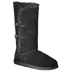 Genuine Suede Faux Uggs: Target - cute in tan, too.  On sale now online for $31.99.  Comparable authentic Uggs (with three buttons): $220.  Women's Xhilaration� Kallima Genuine Suede Shearling Style Boots - Assorted Colors