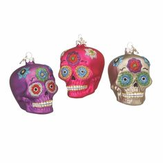 Day Of The Dead Skull Ornaments - Set of 3