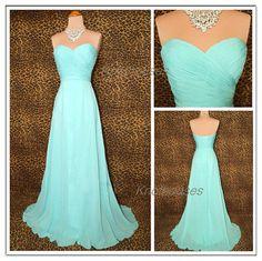 Aqua Sweetheart Simple ruched Long Chiffon dress Prom dress custom made dress