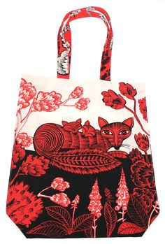 Fox and Cubs Tote Bag - As part of our Best of British collection we have included lots of items for animal lovers, including this lovely Fox and Cubs design tote bag. With a detailed and colourful design in red and black it is a piece of art as well as being a versatile bag. Made of sturdy cotton canvas, this bag has a 10cm gusset so it can fit everything you need. This bag is designed and made in Britain by Lush Designs at their studio in Cockpit Arts in Deptford. Their love of colour…