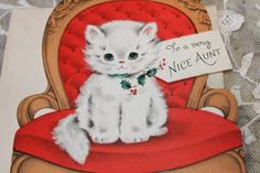 Vintage Christmas Card Unused White Kitten on by binguspingusart, $3.75