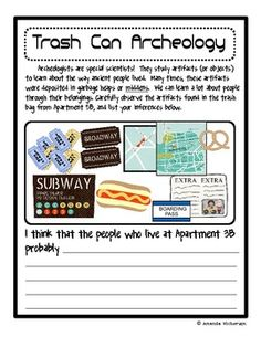 Use this FREE printable to learn more about culture and making inferences!  :) Tie into a real experience with a trash can filled with artifacts!