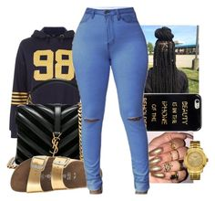"""everything is gold"" by ajdagoddess ❤ liked on Polyvore featuring iHome, Yves Saint Laurent, J.Crew and GUESS"