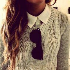 Pale grey cable knit + blouse