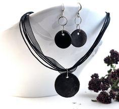 Jewelry Set Handmade Ceramic Black Necklace and by DeeDeeDeesigns