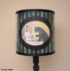 Absinthe lamp shade lampshade art nouveau bohemian decor green absinthe lamp shade lampshade bohemian decor lighting green lamp shade striped lamp shadecat lampvintage advertisingalcohol labels aloadofball Choice Image