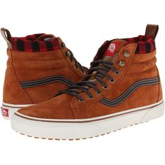 Keep your favorite brand on your feet in any weather with the Vans SK8-Hi MTE! High-top silhouette designed for colder days. Premium Scotchgard-treated leather uppers. Fleece lining for all-day warmth. Heat retention layer between sockliner and outsole keep feet warm and dry. Snow-inspired lug outsole for superior traction and style. Imported. Measurements: Weight: 1 lb 6 oz Shaft: 4 1 2 in Product measurements were taken using size Men's 11, Women's 12. 5, width Medium. Please note that ... Vans Style, Vans Shop, Sk8 Hi, Silhouette Design, Skate Shoes, Summer Shoes, High Tops, High Top Sneakers, Pairs