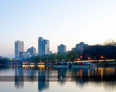 Milwaukee Skyline HDR Photography - Milwaukee, Wisconsin, 8x10 photo - $25 #Milwaukee #waterreflections #milwaukeeskyline #milwaukeeart