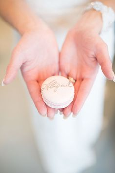 Calligraphed macaron | Photo by Haley Photography