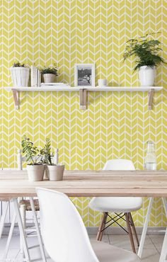 Removable Self adhesive vinyl wallpaper, wall decal - Chevron pattern print - 099 SNOW/ BRIMSTONE