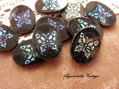 Vintage Iridescent Blue Green Butterfly Mosaic Cameo Cabochons 18x13mm Jet Black Glass Oval  - 2 by alyssabethsvintage on Etsy
