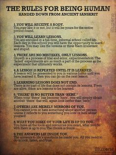 Book of Shadows: #BOS The Rules for Being Human: Handed Down from Ancient Sanksrit page.