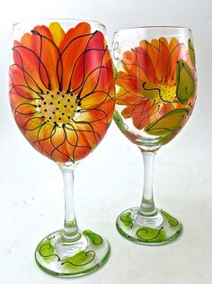 Hand Painted Wine Glass Dahlia by LesliesPaintedGlass on Etsy