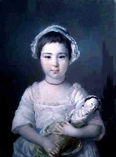1750s Francis Cotes (English Painter, 1726-1770) Lady Ann Fitzpatrick | Children with Dolls 16C - 18C