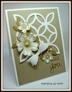 handmade thank you card ... monochromatic kraft .... white really works as a main element too ... die cut lattice ... stamped and punched flowers ... paper bow ... luv this card! ... Stampin' Up!