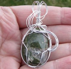 Moss Agate Wire Wrapped Pendant by rockhoundjody on Etsy, $56.00