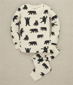 Hatley Store: Hatley Black Bears on Natural Kids Overall Print Pajama Set