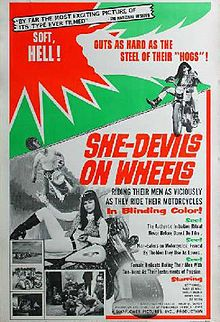 "She-Devils on Wheels - oh my lord I can't even begin to explain how much I heart this movie. All girl biker gang terrorizes men - I love it so much that one of my old bands Doll Squad used to cover the theme song from this flick ""Get Off the Road."" (So did the Cramps.) I still have a She Devils on Wheels t-shirt, and of course I own a copy. Get the men lined up for the stud line!"