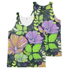 Purple Green and Pink Floral Tank Top All-Over Print Tank Top Tank Tops