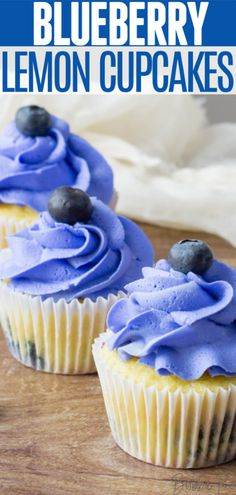 These Lemon Blueberry Cupcakes combine two bright, zesty flavors and are topped with a sweet buttercream frosting. This dessert is perfect for Easter, but could also be used for a gender reveal party, child's birthday or graduation! Picnic Desserts, Just Desserts, Easter Desserts, Easter Cake, Blueberry Frosting, Lemon Blueberry Cupcakes, Cupcake Recipes, Cupcake Cakes, Dessert Recipes