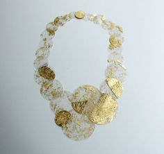 Paula Rodrigues (PT) - Necklace: Flocos 2012 - Silver/gold leaf, plastic