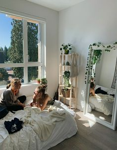 aesthetic bedroom from vsco, natural light white bed mirror decorations plants vines Room Design Bedroom, Room Ideas Bedroom, Bedroom Decor, Bedroom Inspo, Wall Decor, Wall Art, Dream Rooms, Dream Bedroom, White Bedroom
