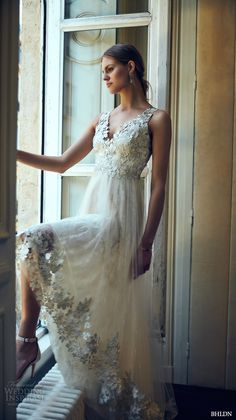 BHLDN #bridal spring 2016 sleeveless v neck lace strap embellished bodice illusion back lace hem romantic pretty a line #wedding dress marchesa (opal)
