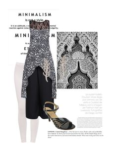 'minimalist' by me on Limeroad featuring Button Black Kurtas, White Leggings with Black Sandals