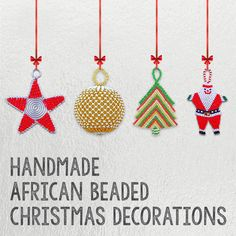 African Beaded Christmas Decorations handmade by the rural Zulu beaders from South Africa. Please see our website for the full range of over 3000 African products: earthafricacurio.com #christmas #christmasdecorations #christmasornaments #christmasstar #christmasbell #christmasballs #africanbeadedchristmasstar #africanbeadedchristmasstar #africanbeadedchristmastree #africanbeadedchristmasbell #africanbeadedchristmasballs #earthafrica #fairtrade #southafrica African Christmas, Christmas Star, Christmas Bells, Christmas And New Year, Christmas Ornaments, Christmas Decorations Wholesale, Beaded Christmas Decorations, African Crafts, African Beads