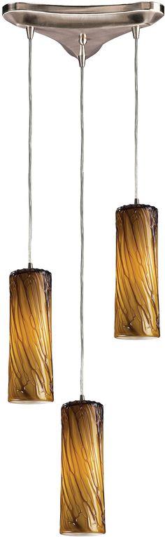 "0-023555>10""""w Maple 3-Light Pendant Satin Nickel with Maple Amber Glass"