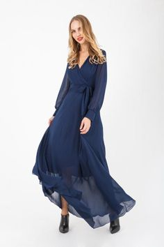 Blue dress, made of polyester. Blue Dresses, Dresses With Sleeves, Fall Winter, Clothes For Women, Long Sleeve, Collection, Fashion, Outerwear Women, Moda