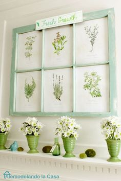 Spring mantel with botanical prints in old window