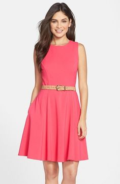 Eliza J Belted Sleeveless Fit & Flare Dress available at #Nordstrom