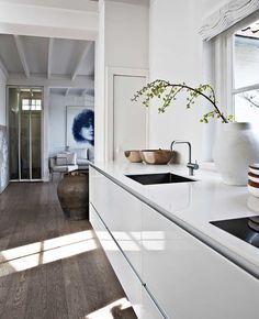 white kitchen and dark wooden floor