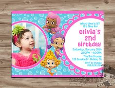 BUBBLE GUPPIES Birthday Invitation, Girls Bubble Guppies Birthday Invite, Bubble Guppies Invitation Invite - Digital Printable, JPG File