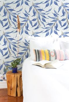 Blue watercolor leaves wallpaper Tropical wall mural by BohoWalls