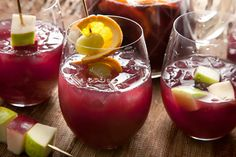 Ruby Sangría - fabulous recipe, best red sangria I've had.  The apple wedges were too big though - we'll be sure to cube them next time.