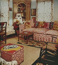 The living room in the Winter Town House in Maine