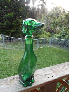 "14""Beautiful Vintage Green Glass Dachshund Decanter~Aids New DRSF Rescue Frankie"