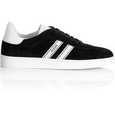 Versus Versace Sports Stripe Logo Trainers (445 NZD) ❤ liked on Polyvore featuring shoes, sneakers, white and black shoes, sports shoes, lacing sneakers, laced up shoes and black and white stripe shoes