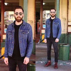 Deus Denim Jacket, Dr. Martens Cherry Boots