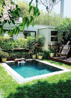 Small pools for small backyards pin by on dream house backyard swimming pools and small pools small backyard pool ideas Small Inground Pool, Small Swimming Pools, Small Pools, Swimming Pools Backyard, Small Backyard Landscaping, Swimming Pool Designs, Backyard Patio, Landscaping Ideas, Small Pool Ideas